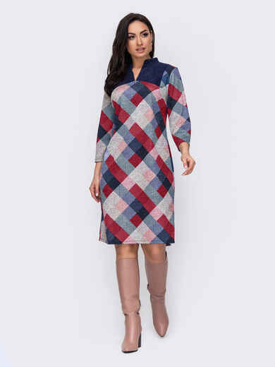 Прямое платье-миди большого размера в клетку синее 52871, фото 1