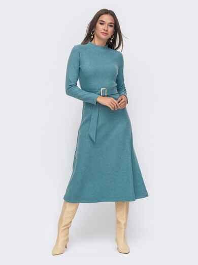 Расклешенное платье из трикотажа с поясом голубое 42223, фото 1