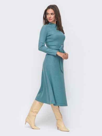 Расклешенное платье из трикотажа с поясом голубое 42223, фото 2