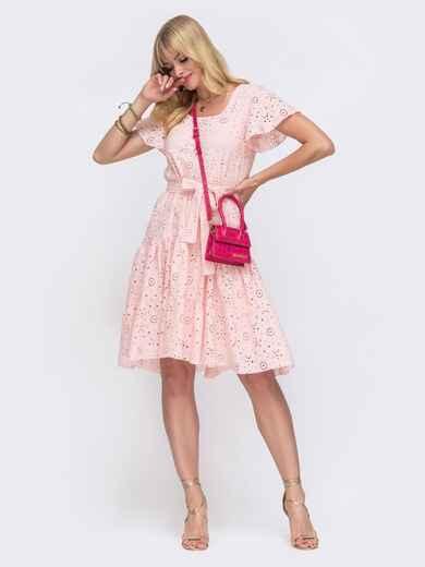 """Розовое платье из прошвы с рукавом """"крылышко"""" 49549, фото 1"""