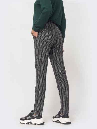 Серые брюки из полированной ангоры в полоску - 42971, фото 2 – интернет-магазин Dressa