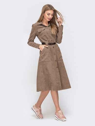 Вельветовое платье-рубашка со шлевками бежевое 41363, фото 1