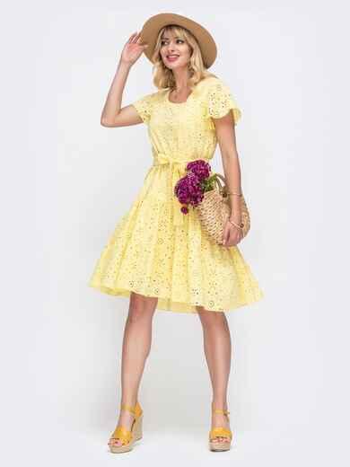"""Желтое платье из прошвы с рукавом """"крылышко"""" 49548, фото 1"""