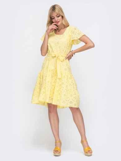 """Желтое платье из прошвы с рукавом """"крылышко"""" 49548, фото 2"""