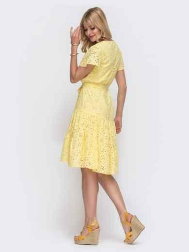 """Желтое платье из прошвы с рукавом """"крылышко"""" 49548, фото 3"""