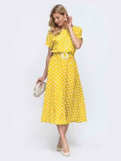 Желтое платье-клеш в горох с коротким рукавом 54212, фото 1