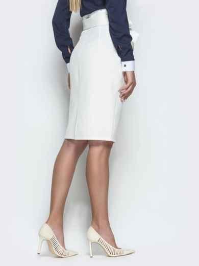 Белая юбка-карандаш с оборкой по талии - 39772, фото 3 – интернет-магазин Dressa