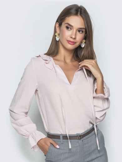 Блузка бледно розового цвета с манжетами на резинке - 40093, фото 2 – интернет-магазин Dressa