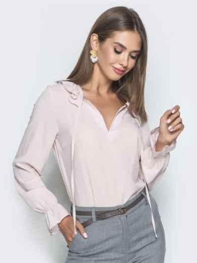 Блузка бледно розового цвета с манжетами на резинке - 40093, фото 3 – интернет-магазин Dressa