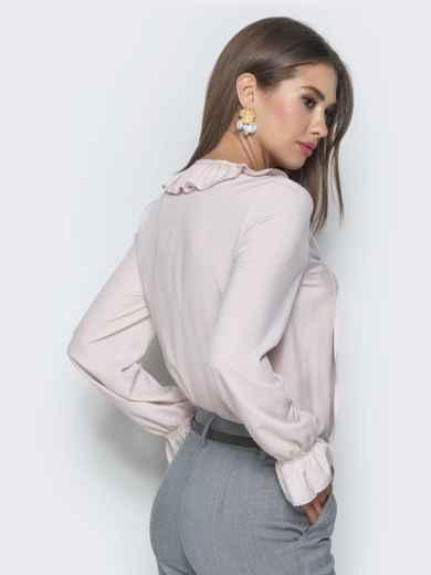 Блузка бледно розового цвета с манжетами на резинке - 40093, фото 4 – интернет-магазин Dressa