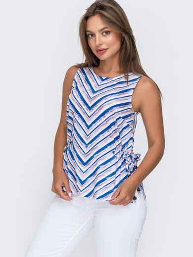 Блузка в полоску с разрезами по бокам синяя 49371, фото 1