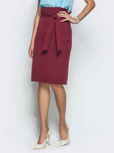 Бордовая юбка-карандаш с оборкой по талии - 39773, фото 2 – интернет-магазин Dressa