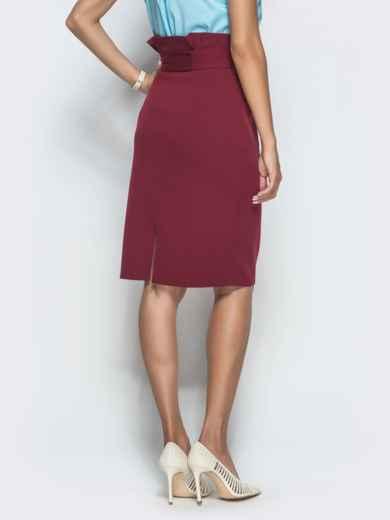 Бордовая юбка-карандаш с оборкой по талии - 39773, фото 3 – интернет-магазин Dressa