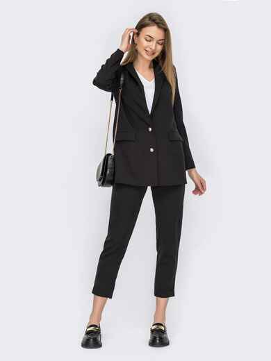 Брючный костюм-тройка с пиджаком и блузкой черный 53151, фото 1