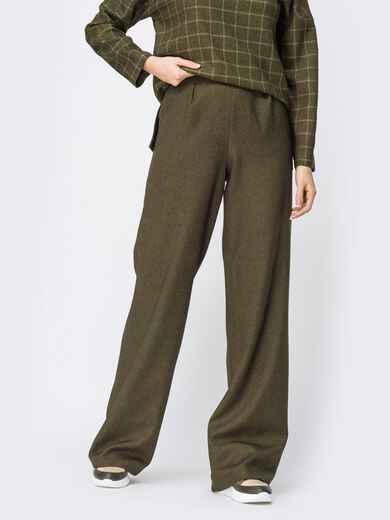 Брюки прямого кроя с карманами по бокам цвета хаки - 44177, фото 1 – интернет-магазин Dressa