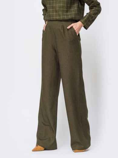 Брюки прямого кроя с карманами по бокам цвета хаки - 44177, фото 2 – интернет-магазин Dressa