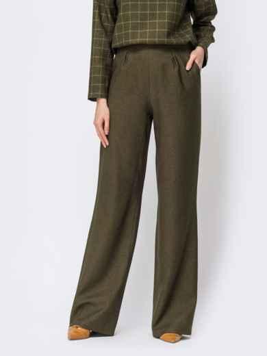 Брюки прямого кроя с карманами по бокам цвета хаки - 44177, фото 3 – интернет-магазин Dressa