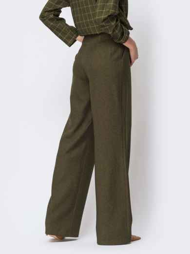 Брюки прямого кроя с карманами по бокам цвета хаки - 44177, фото 4 – интернет-магазин Dressa