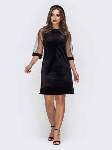 Чёрное платье из бархата с рукавами из сетки 42628, фото 1