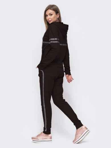 Чёрный комплект из кофты с капюшоном и брюк 49305, фото 3