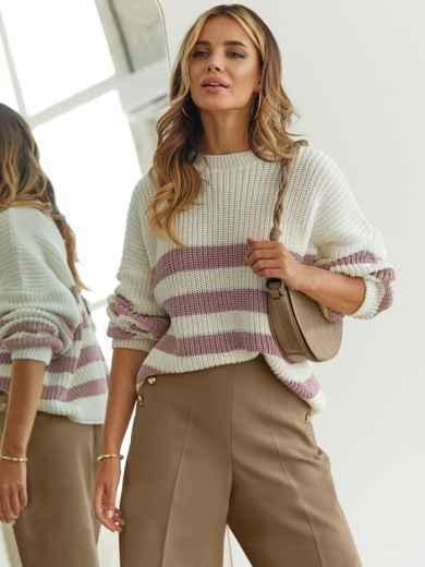 Молочный свитер свободного кроя в розовую полоску 54892, фото 1
