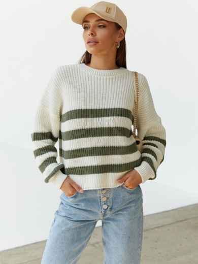 Молочный свитер свободного кроя в зелёную полоску 54894, фото 1
