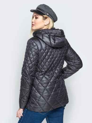 Стеганая куртка с капюшоном и карманами на магнитах чёрная 20322, фото 2
