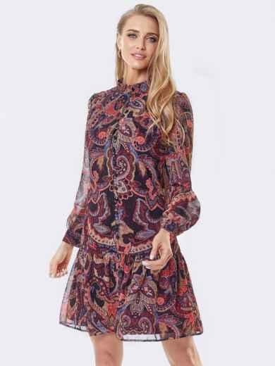 Платье с принтом «турецкие огурцы» и воланом по низу бордовое 53658, фото 1