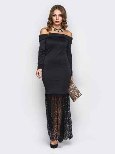 Чёрное платье-годе с открытыми плечами - 22149, фото 2 – интернет-магазин Dressa