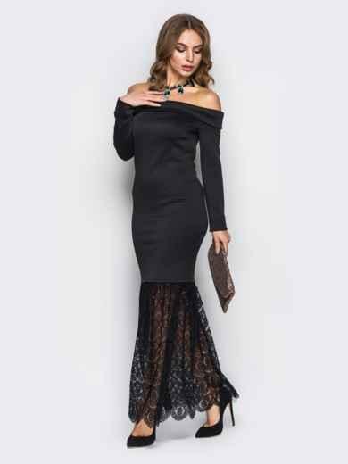 Чёрное платье-годе с открытыми плечами - 22149, фото 3 – интернет-магазин Dressa