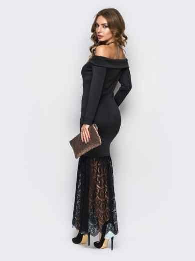 Чёрное платье-годе с открытыми плечами - 22149, фото 4 – интернет-магазин Dressa
