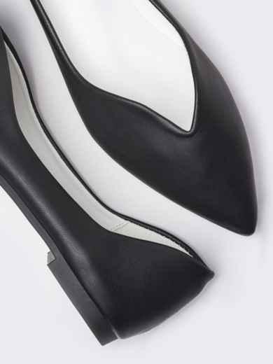 Чёрные балетки с заостренным носком 50718, фото 2
