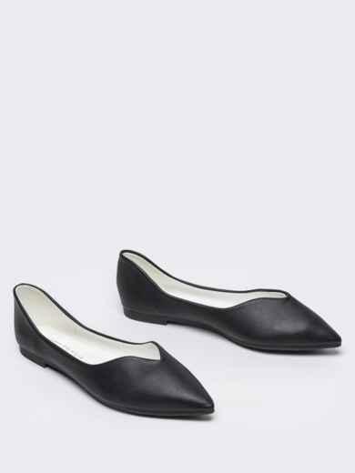 Чёрные балетки с заостренным носком 50718, фото 3