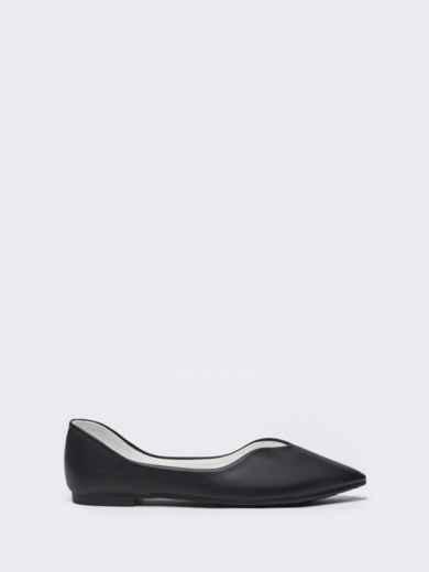 Чёрные балетки с заостренным носком 50718, фото 4