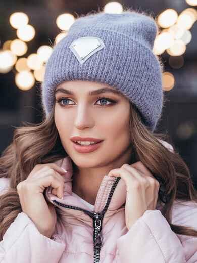 Двойная шапка-колпак сиреневого цвета 40308, фото 1