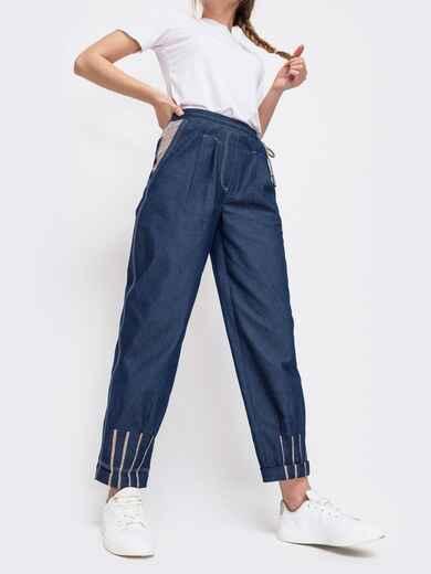Джинсовые брюки с талией на кулиск синие - 47743, фото 1 – интернет-магазин Dressa