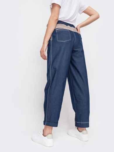 Джинсовые брюки с талией на кулиск синие - 47743, фото 2 – интернет-магазин Dressa