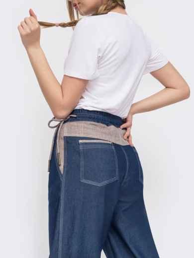 Джинсовые брюки с талией на кулиск синие - 47743, фото 3 – интернет-магазин Dressa