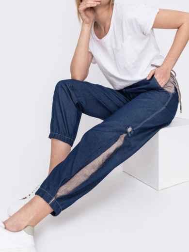 Джинсовые брюки синего цвета с талией на кулиске - 47744, фото 2 – интернет-магазин Dressa