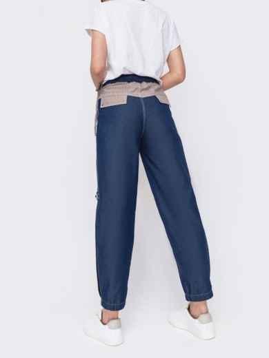 Джинсовые брюки синего цвета с талией на кулиске - 47744, фото 3 – интернет-магазин Dressa