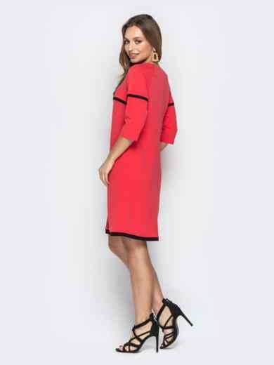 Коралловое платье-трапеция из креп-дайвинга со вставками - 21014, фото 2 – интернет-магазин Dressa