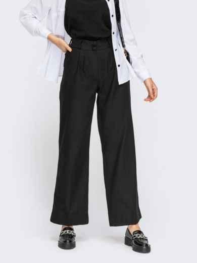Льняные чёрные брюки с защипами впереди 54361, фото 1
