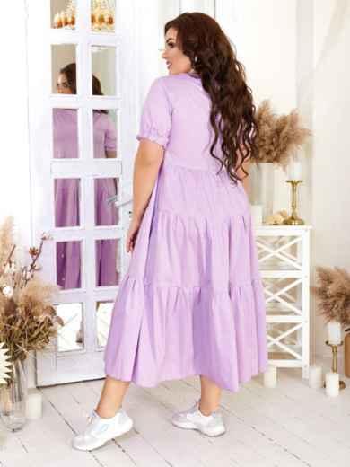 Платье большого размера с многоярусной юбкой фиолетовое 47581, фото 2