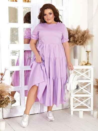 Платье большого размера с многоярусной юбкой сиреневое 47581, фото 1