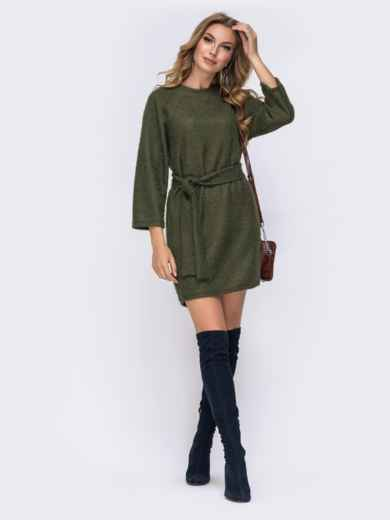 Платье из вязаного трикотажа с рукавом-реглан хаки - 42524, фото 2 – интернет-магазин Dressa