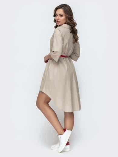Платье-рубашка с удлиненной спинкой и поясом бежевое 46722, фото 2