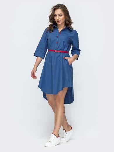 Платье-рубашка с удлиненной спинкой и поясом синее 46723, фото 1