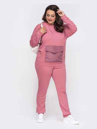 Розовый комплект большого размера из кофты и брюк 49986, фото 1