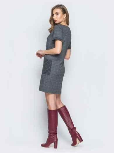 Серое платье из фланели с карманами - 18546, фото 3 – интернет-магазин Dressa