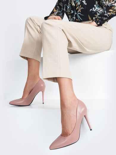 Туфли из искусственной кожи на тонком каблуке пудровые 45511, фото 1